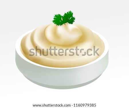 Mayonnaise sauce with parsley in a bowl isolated on white background. Vector illustration of mayonnaise, sour cream, sauce, yogurt. EPS 10