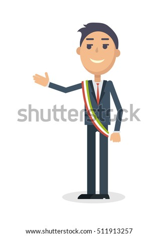 mayor character smiling man in
