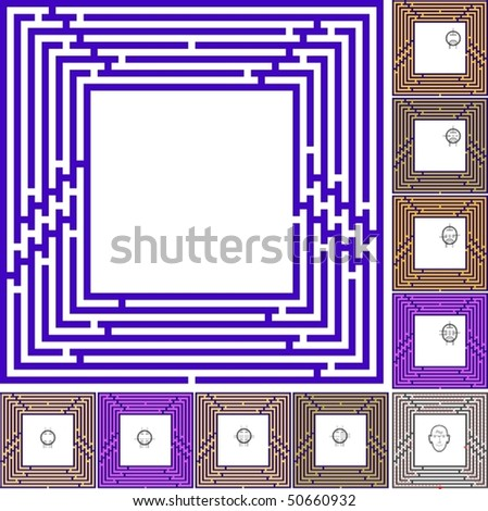 """Maze as frame """"Old electronics"""" with solution"""