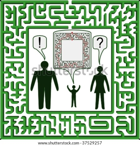 """Maze as frame """"Top Arc Top"""" with solution"""