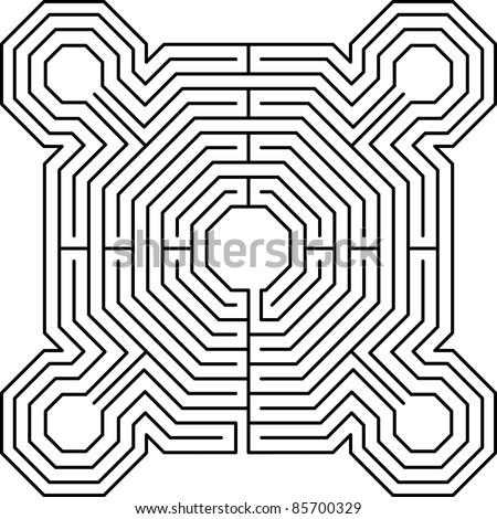 maze fortress white - stock vector