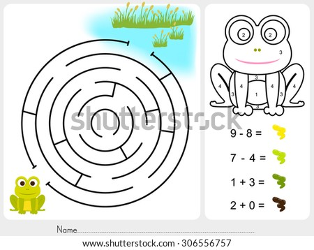 Maze game and Paint color by numbers - Worksheet for education