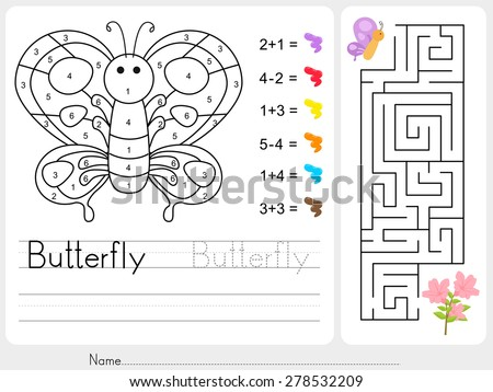Maze game, Color by numbers - Worksheet for education
