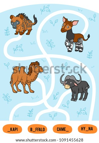 Maze game for children. Find the way from the picture to its title and add the missing letters. Set of african animals. Okapi, Buffalo, Camel, Hyena