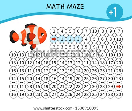 Maze game for children. Material for learning mathematics. Cartoon cute fish.