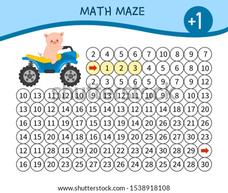 Maze game for children. Material for learning mathematics. Cartoon cute pig.