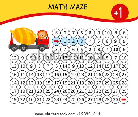 Maze game for children. Material for learning mathematics. Cartoon lion on a truck.