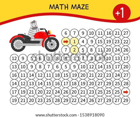 Maze game for children. Material for learning mathematics. Cartoon zebra on a motorcycle.