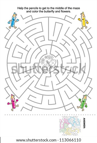 Maze game for kids: Help the pencils to get to the middle of the maze and color the butterfly and flowers. Answer included. For high res JPEG or TIFF see image 113066107
