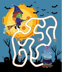 Maze game template with witch flying at night illustration