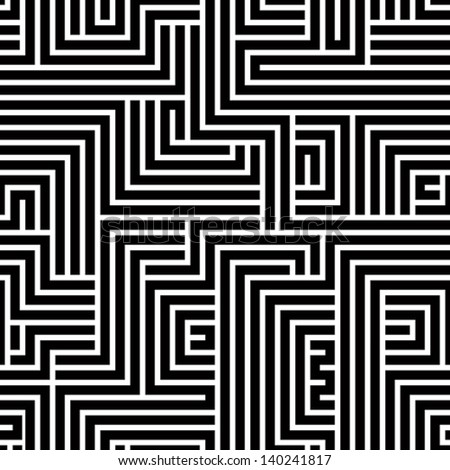 maze seamless pattern  black