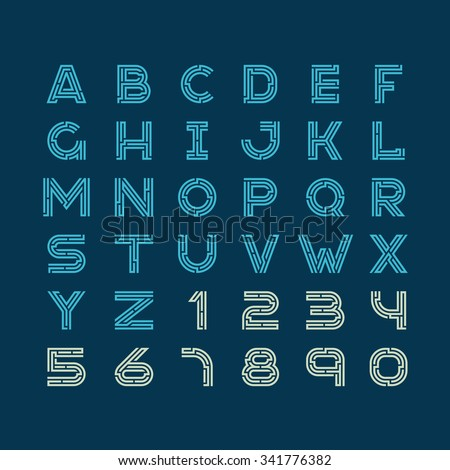 Maze tech letters linear style font. Construction design latin alphabet with numbers.