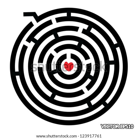 maze with red heart at the