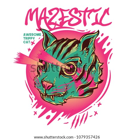mazestic cat illustration