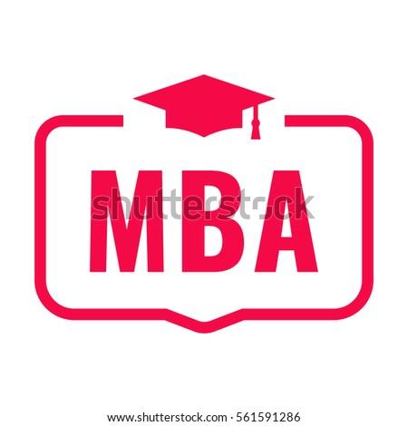 MBA. Badge with graduation hat icon. Flat vector illustration on white background