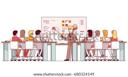 MBA business teacher giving lecture on strategic planning & marketing data analysis. Students listening seminar in modern classroom with laptops, big whiteboard. Flat thin line vector illustration.