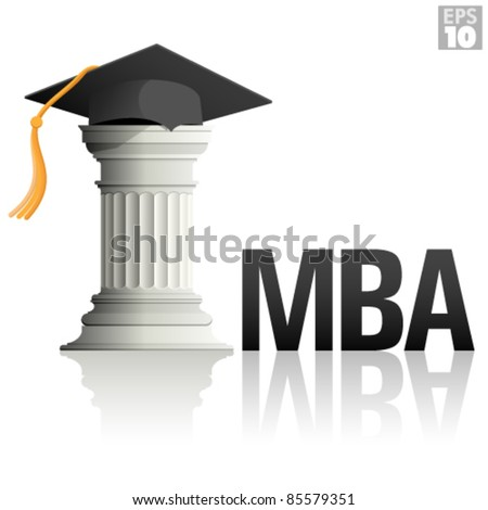 MBA Education with a greek column and a graduation hat