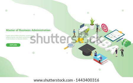 mba master of business administration concept for website template or landing homepage with isometric modern style - vector