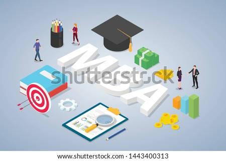 mba master of business administration concept with graduate university hat education and team people with isometric modern style - vector