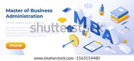 MBA - Master Of Business Administration Vector Illustration Concept With Big Letters MBA And Icons.
