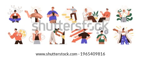 MBTI person types set. Different mindsets, behavior models, mental perceiving and thoughts. Psychological concept. Colored flat graphic vector illustration of people isolated on white background