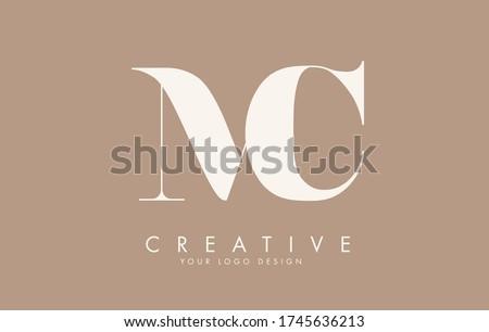 MC M C letters logo design. Long Tail effect vector illustration sign. Zdjęcia stock ©