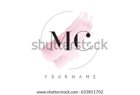 MC M C Watercolor Letter Logo Design with Circular Shape and Pastel Pink Brush.