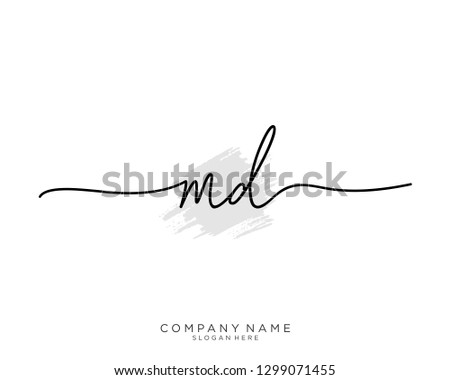 MD M D Initial handwriting logo template