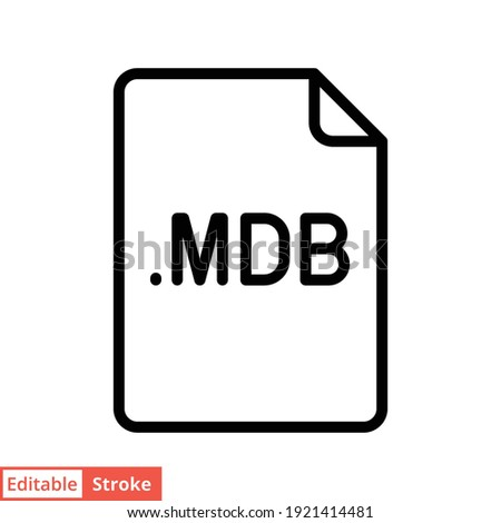 MDB file format line icon. Linear style sign for mobile concept and web design. Simple outline symbol. Vector illustration isolated on white background. Editable stroke EPS 10.