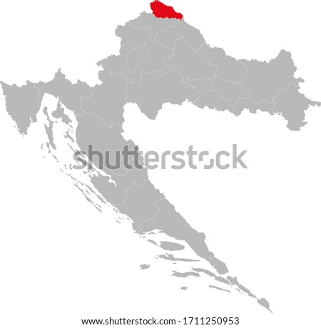 Međimurje county highlighted on Croatia map. Light gray background. Perfect for Business concepts, backgrounds, backdrop, sticker, chart, presentation and wallpaper.