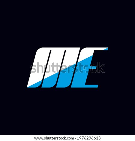 ME letter logo design on black background. ME creative initials letter logo concept. me icon design. ME white and blue letter icon design on black background. M E Stok fotoğraf ©
