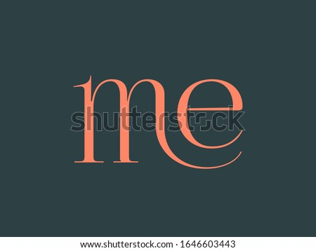 ME monogram logo.Elegant style typographic icon.Lettering sign.Alphabet initials in coral color isolated on dark green background.Lowercase luxury serif letter m and letter e.Beauty characters. Stok fotoğraf ©