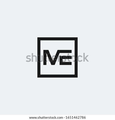 ME monogram logo inside square frame Stok fotoğraf ©