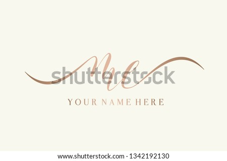 ME signature style monogram.Calligraphic lettering icon in rose gold metallic color isolated on light background.Typographic logo with script letter m and letter e.Handwritten wedding initials.