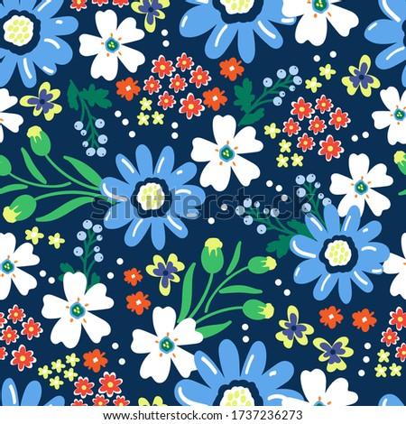 meadow flowers on a blue