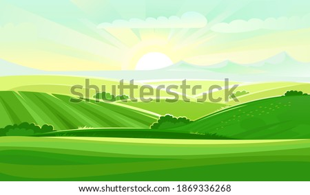 Meadow hills with vegetable gardens and fields. Rangelands and pastures. Rural landscape. Out-of-town scenery with plots of land for agricultural processing. Farmland and farm location. Vector Сток-фото ©