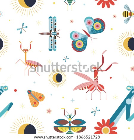meadow insects pattern with