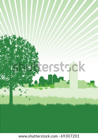 meadow on a cityscape background