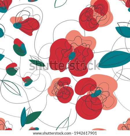 meadow poppy floral seamless