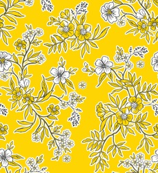 Meadow. Wildflowers pattern. Hand drawn Floral pattern. Seamless vector texture. Elegant template for fashion prints. Surface with meadow flowers and herbs. Yellow background.