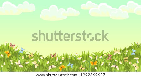 Meadow with wildflowers and butterflies. Grass close-up. Beautiful green landscape. Cartoon style. Flat design. Flowers. Art illustration vector