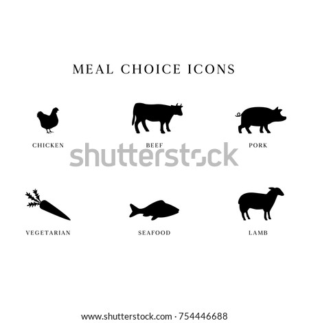 Meal Choice Icons - Set of 6 meal choice option icons. The set includes chicken, beef, pork, vegetarian, seafood / fish, and lamb.