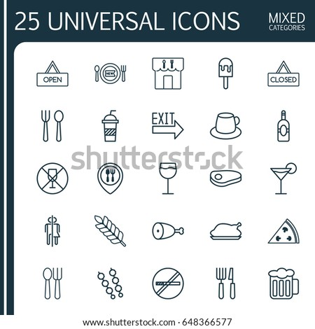 meal icons set collection of