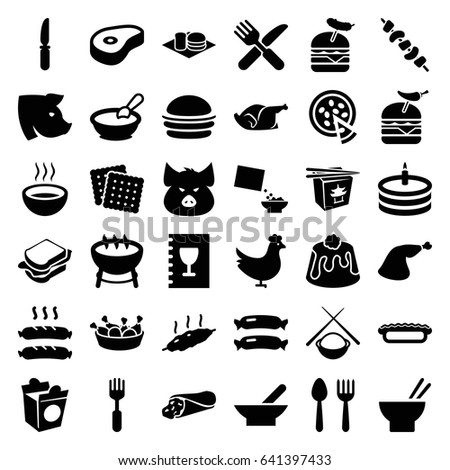 meal icons set set of 36 meal