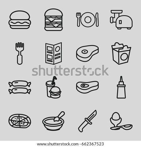 Meal icons set. set of 16 meal outline icons such as plate fork and spoon, sausage, porridge, ketchup, pizza, double burger, boiled egg, take away food, burger and drink, fork
