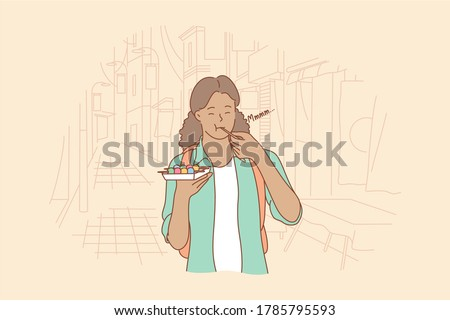 Meal, leisure time, travelling, tourism concept. Young happy woman girl tourist backpacker character eating japanese china street food dango balls. Testing exotic delicacy asian cuisine illustration.
