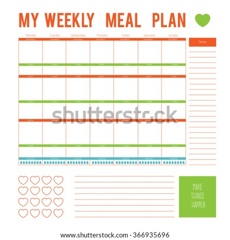 meal plan for a week calendar
