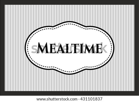 Mealtime retro style card or poster