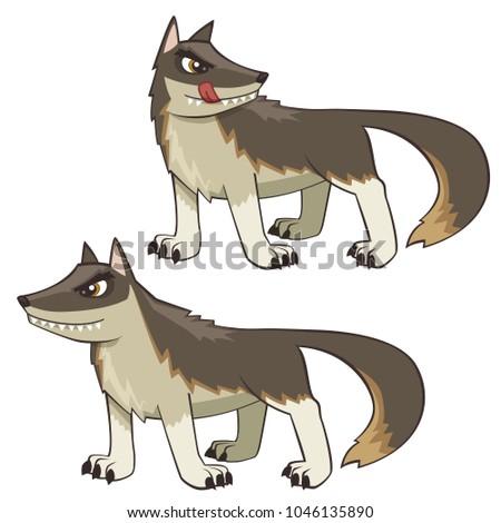 mean bad wolf cartoon vector