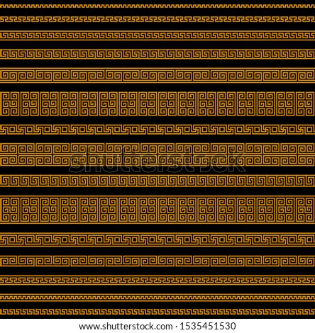 meander seamless pattern greek fret repeated motif. simple black orange repetitive background. vector geometric shapes. textile paint fabric swatch. wrapping paper. classic ornament repeatable element